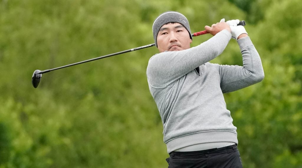 Sung Kang tied the Trinity Forest course record with a round of 61 on Friday.