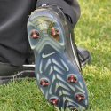 Tiger Woods was wearing metal spikes on Wednesday at the Memorial Tournament.