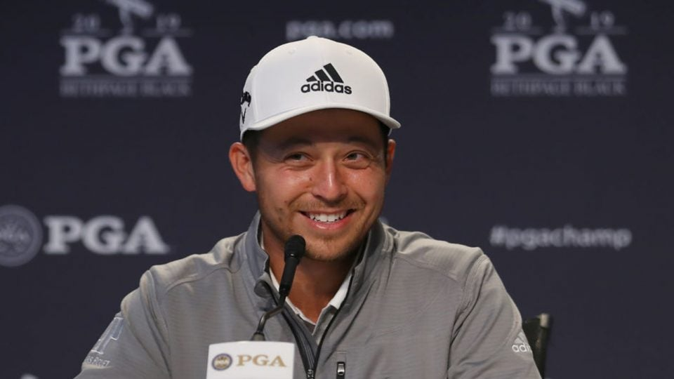 Xander Schauffele answers questions during a press conference ahead of the 2019 PGA Championship.