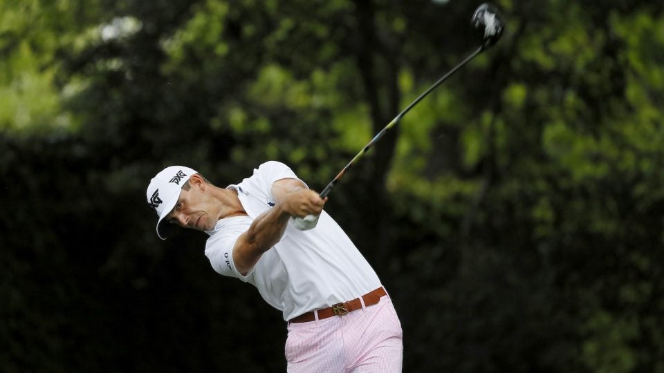 Billy Horschel tees off during the Masters.