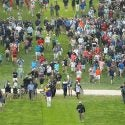 Brooks Koepka, and hundreds of others, walks off the 18th tee on Sunday of the PGA Championship.