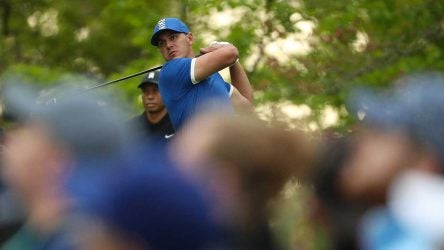 Brooks Koepka hits driver during the second round of the PGA Championship.