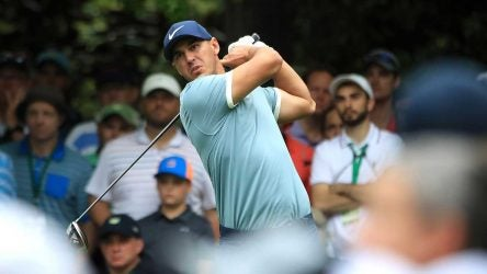 Brooks Koepka tees off during the 2019 Masters.