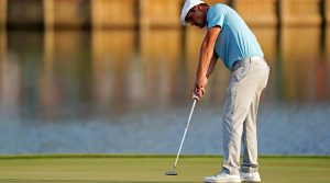 Bryson DeChambeau putts during Players Championship