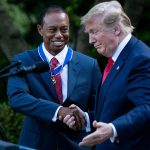 Donald Trump posts low score: Trump with Tiger Woods