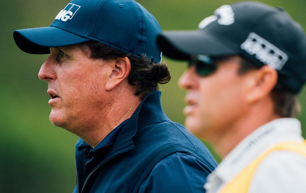 Lefty and his caddie, who's also his brother.
