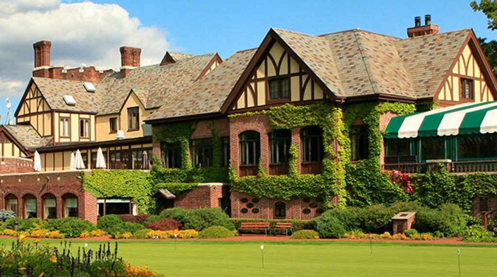 The clubhouse at Oak Hill Country Club.