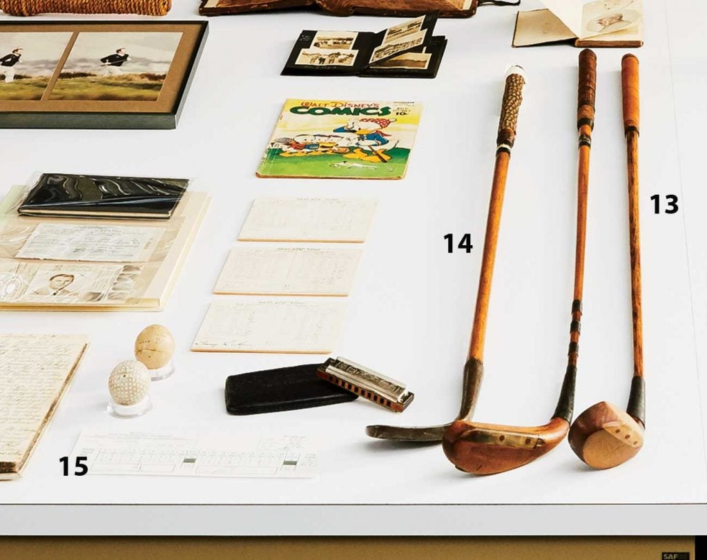 Above: 13. Wood used by FDR (ca. 1915); 14. Vintage sand iron (ca. 1780); 15. Final-round scorecard from Tiger Woods's record-shattering 2000 U.S. Open victory at Pebble Beach.