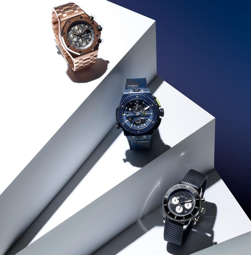 From left to right: Audemars Piguet Royal Oak Offshore; Hublot Big Bang Unico Golf; Breitling Superocean Heritage Chronograph