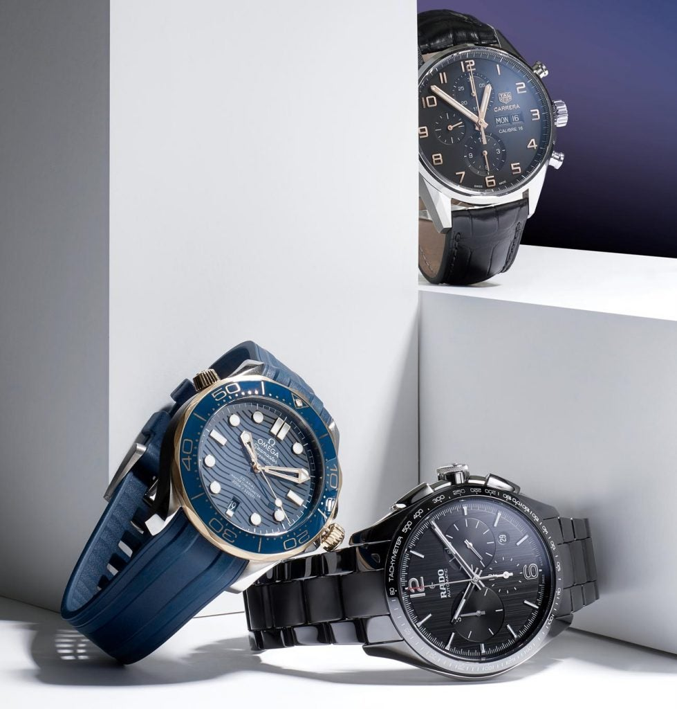 Clockwise from top right: Tag Heuer Carrera Automatic Chronograph; Rado Hyperchrome Automatic Chronograph; Tag Heuer Carrera Automatic Chronograph