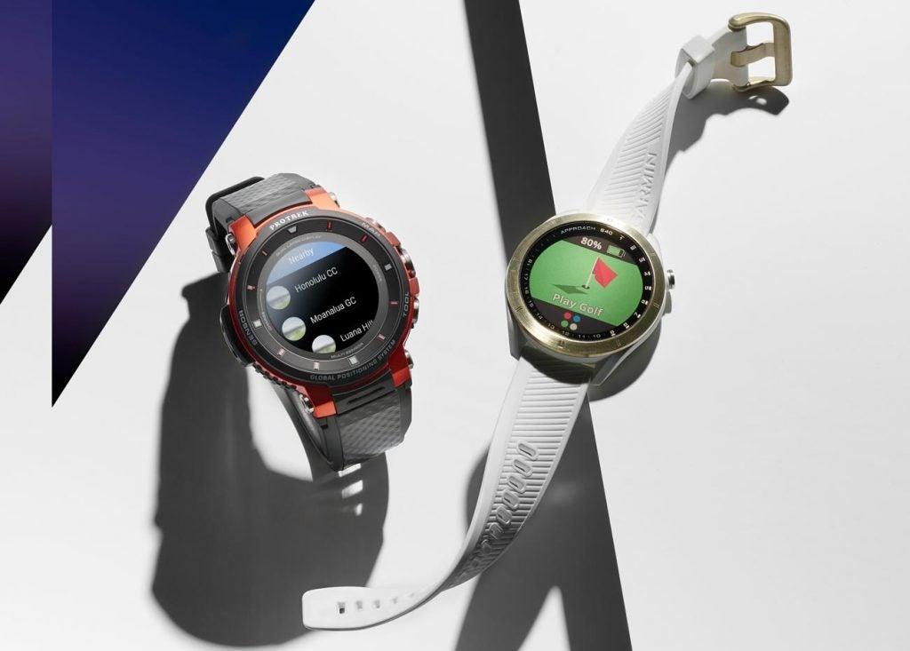 Left: Casio Pro Trek smart watch. Right: Garmin Approach watch.