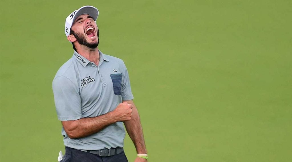 Max Homa celebrates his title at the Wells Fargo Championship on Sunday.