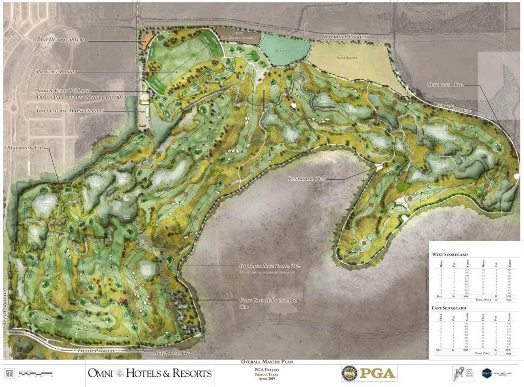 Les plans pour deux cours au nouveau siège de la PGA of America à Frisco, Texas.