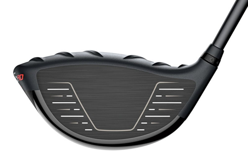 A view of the face on the Ping G410 Plus driver.