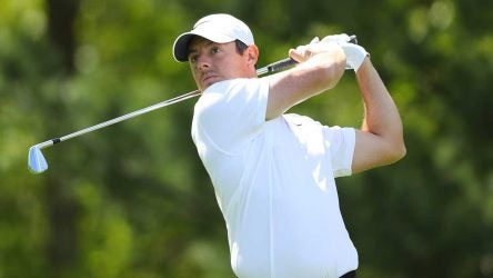 Rory McIlroy tees off during the PGA Championship.