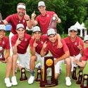 The Stanford men's golf team celebrates its NCAA title.