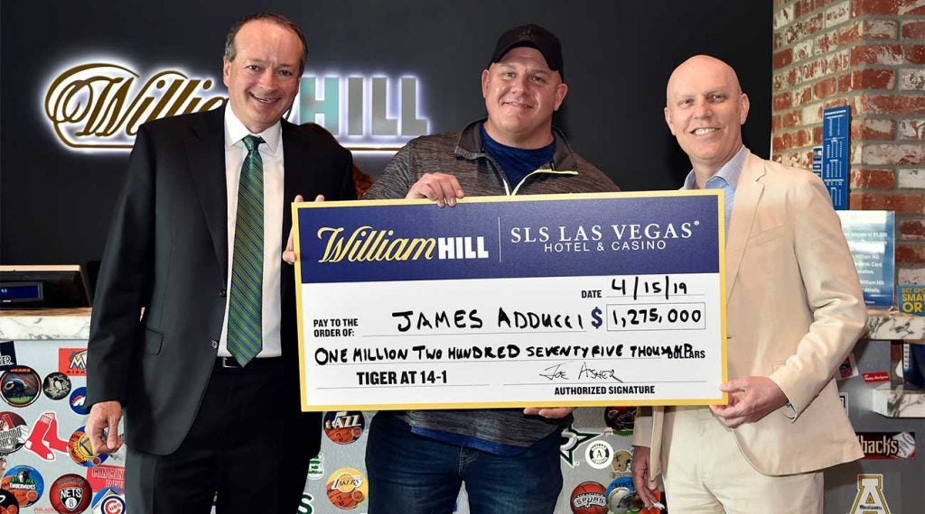 James Adducci after cashing his winning ticket at the William Hill Sportsbook at the SLS Las Vegas Hotel on April 15, 2019, in Las Vegas.