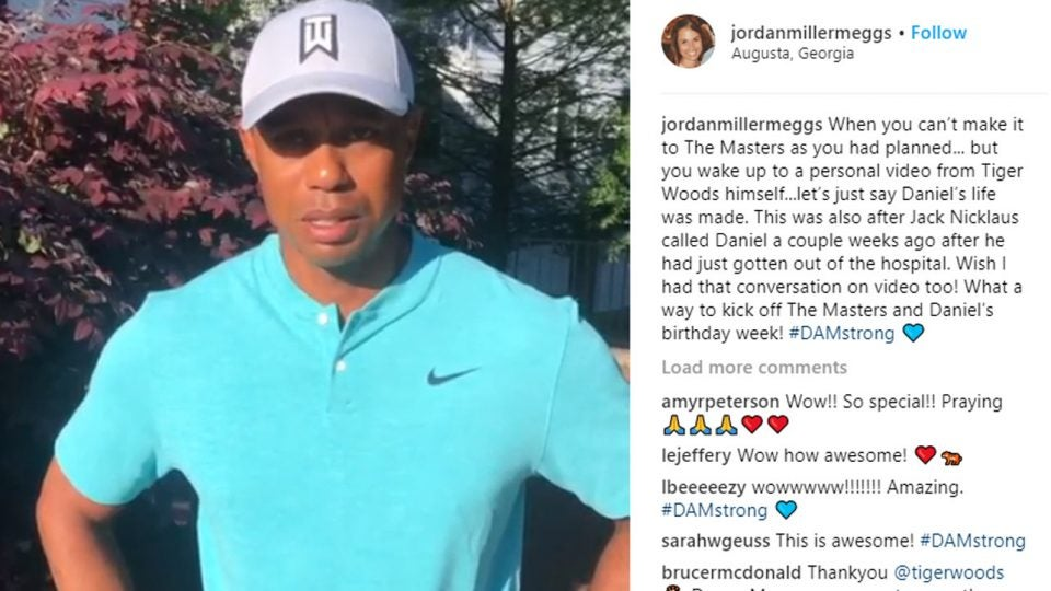 Daniel Meggs' wife posted Tiger Woods' video to him on Instagram