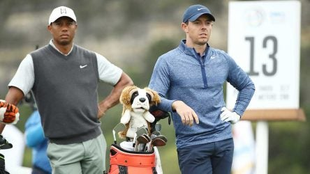 Tiger Woods and Rory McIlroy on the tee box.