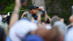 Tiger Woods watches a tee shot during the second round of the 2019 PGA Championship.