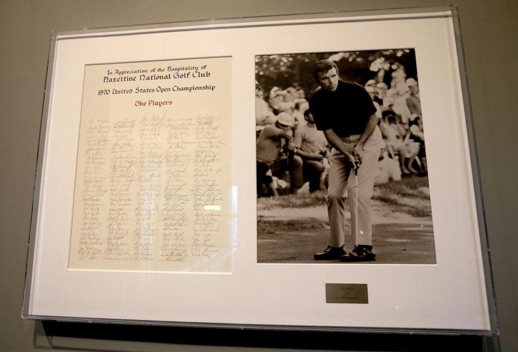 A plaque commemorating Tony Jacklin's 1970 U.S. Open win hangs in the clubhouse at Hazeltine.
