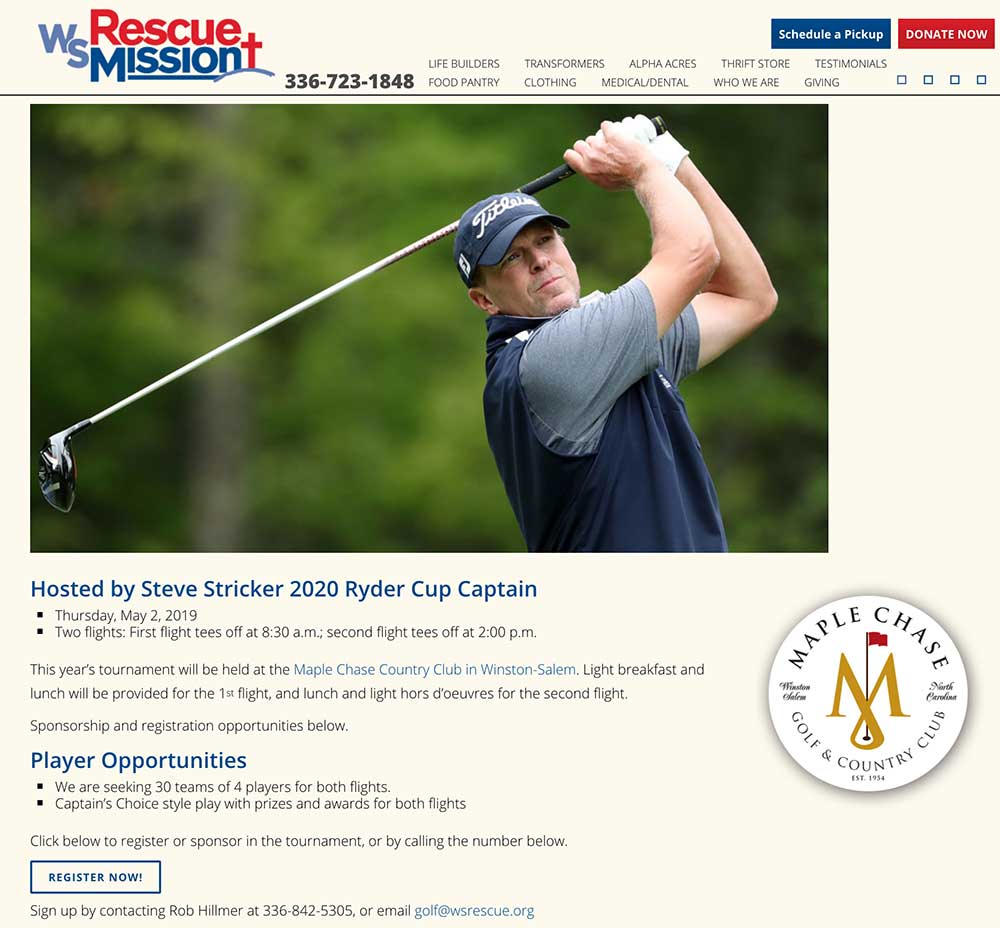 A cached version of the event's page on the Winston-Salem Rescue Mission website.