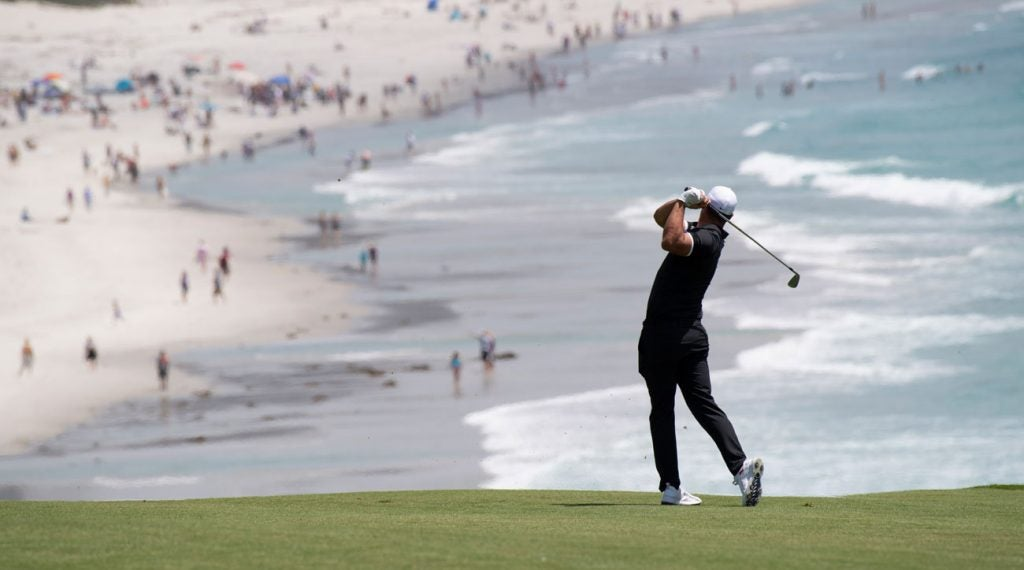 Brooks Koepka plays a shot during a U.S. Open practice round at Pebble Beach.