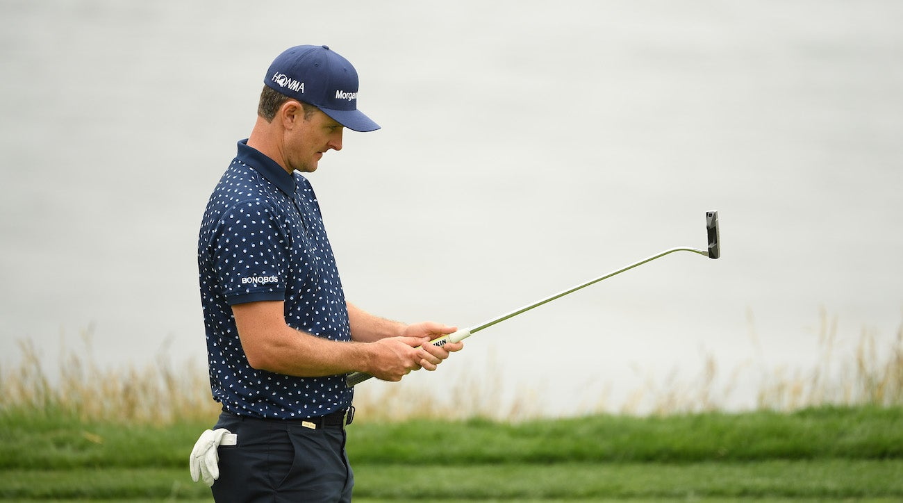 PEBBLE BEACH, CALIFORNIA - JUNE 14: Justin Rose of England lines up a putt on the eighth green during the second round of the 2019 U.S. Open at Pebble Beach Golf Links on June 14, 2019 in Pebble Beach, California. (Photo by Ross Kinnaird/Getty Images)