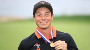 Amateur Viktor Hovland of Norway celebrates with his low amateur award medal at the 2019 U.S. Open at Pebble Beach Golf Links on June 16, 2019 in Pebble Beach, California.