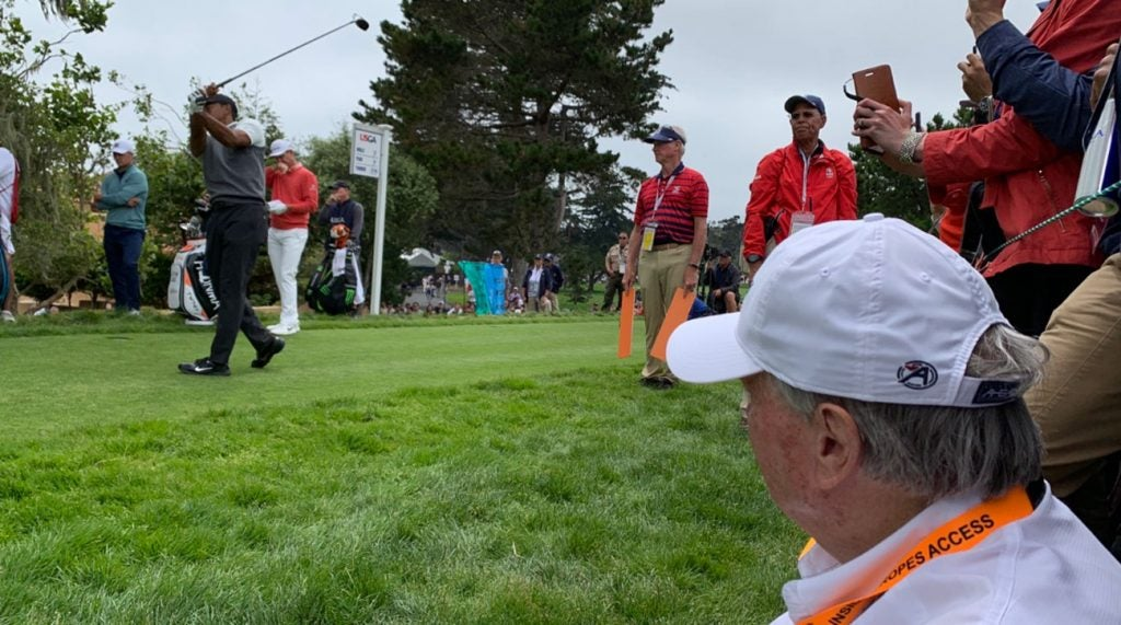 Renowned author Michael Murphy watched Tiger Woods play in person for the first time on Thursday at Pebble Beach.