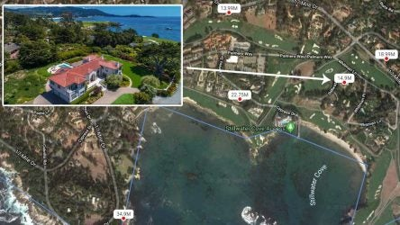 A map of homes for sale at Pebble Beach.