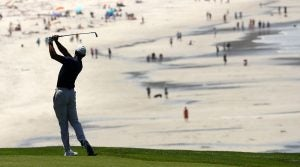 Tiger Woods tees off during a Pebble Beach practice round.