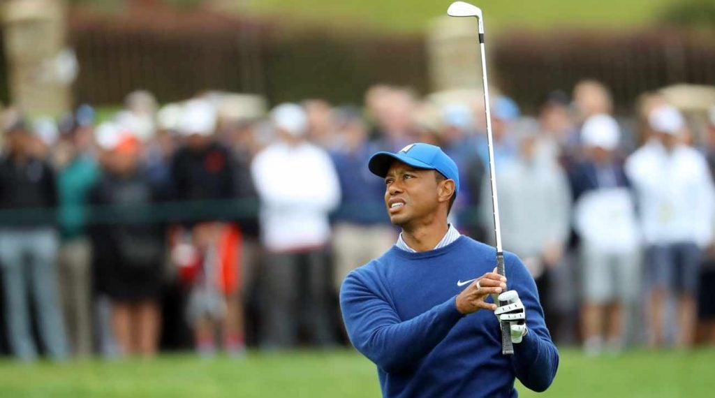 Tiger Woods stumbled at the end of Friday's round at Pebble Beach.
