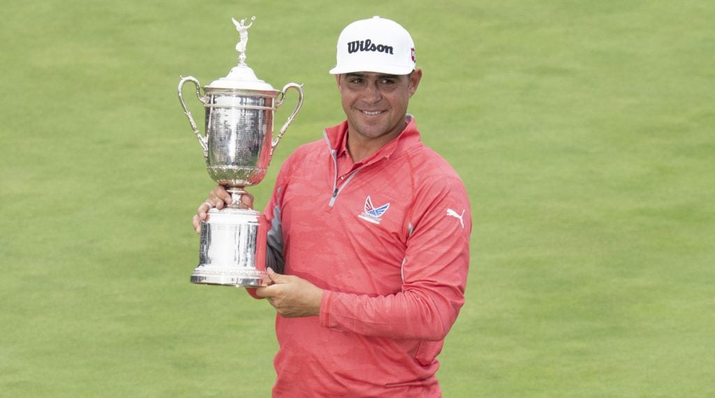 Sounds like Gary Woodland had some trouble drinking out of the U.S. Open trophy.