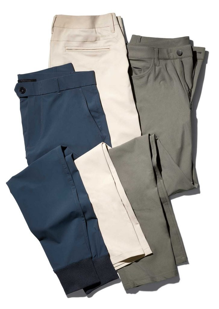 "Left to Right: RLX Golf Tailored Fit Stretch, $98.50; Bonobos Highland Tour, $128; Lululemon ABC Class 34"", $128."