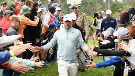 Brooks Koepka walks off the 13th green during the final round of the U.S. Open at Pebble Beach.