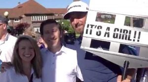 Dustin Johnson surprised a couple with a gender reveal in Detroit.