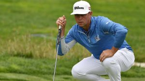 Gary Woodland reads a putt during the third round of the U.S. Open.