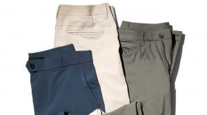 """Left to Right: RLX Golf Tailored Fit Stretch, $98.50; Bonobos Highland Tour, $128; Lululemon ABC Class 34"""", $128."""