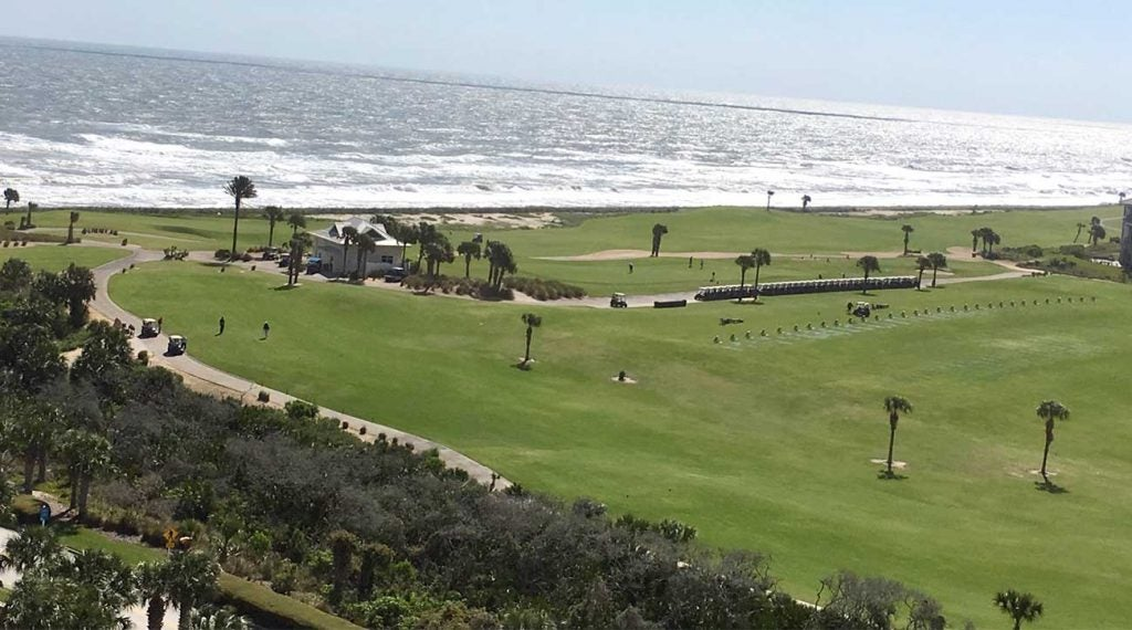 A view of the Ocean Course, and the Atlantic Ocean, from one of the rooms at Hammock Beach Resort.