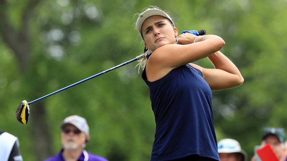 Lexi Thompson watches a tee shot during the first round of the ShopRite LPGA Classic.