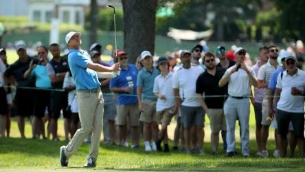 Nate Lashley hits a shot during the final round of the Rocket Mortgage Classic.