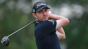 Patrick Cantlay hits driver during the final round of the Memorial.