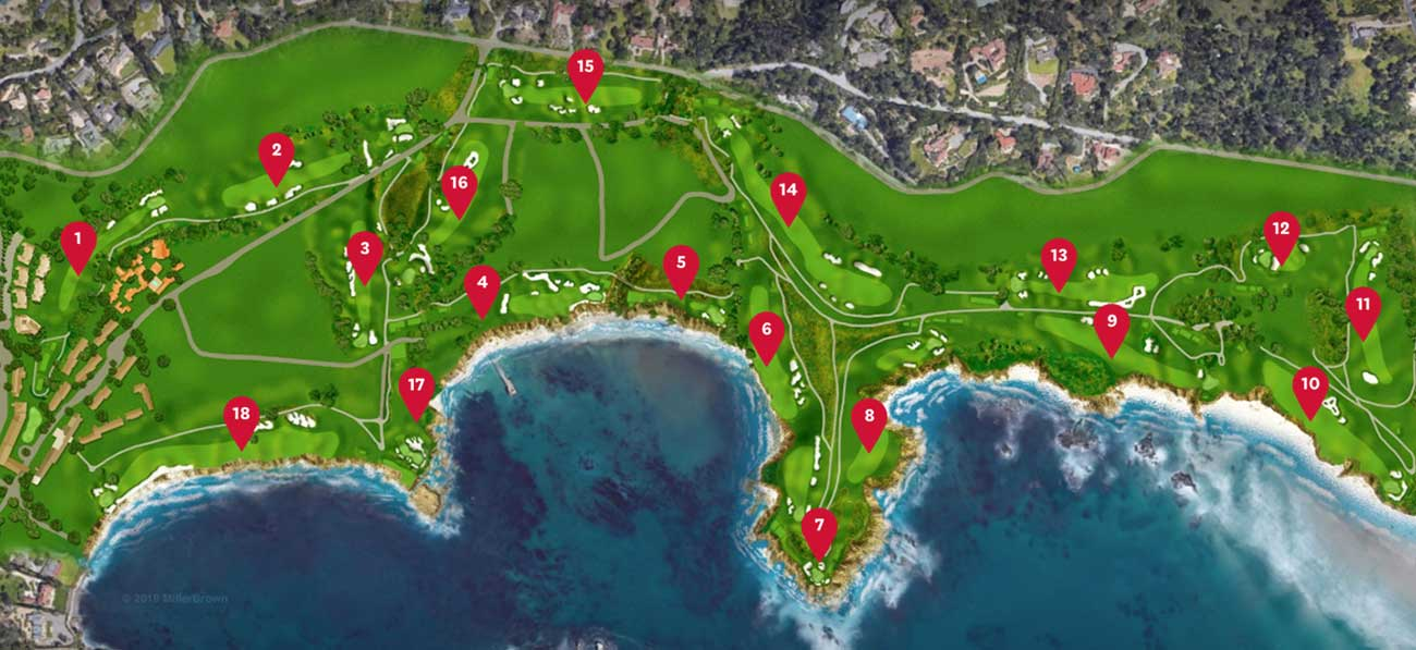 Pebble Beach Map Pebble Beach layout: Check out the Pebble Beach course map