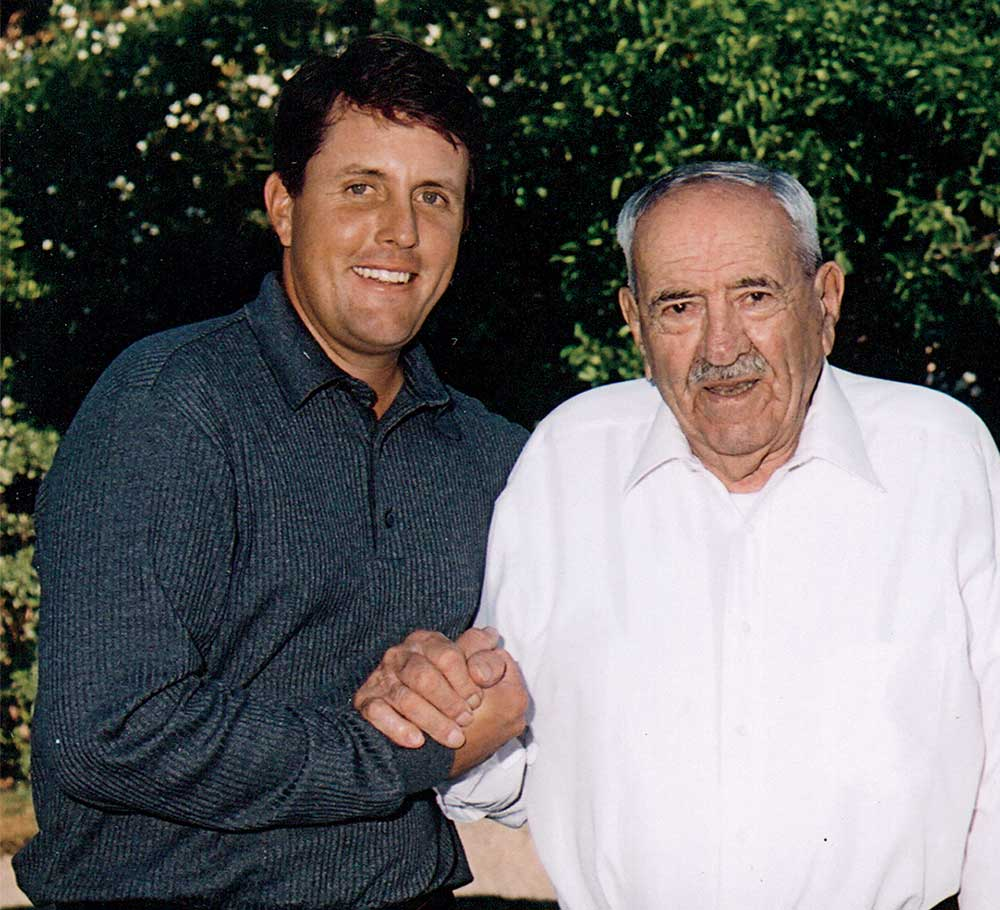 Phil Mickelson and his grandfather, Al Santos.