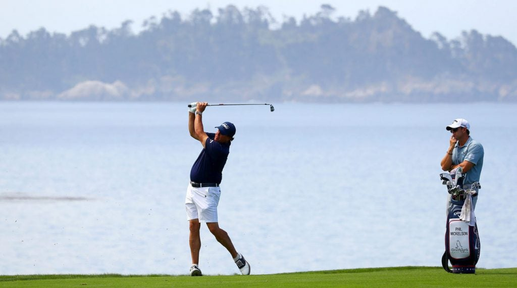 Phil Mickelson practices at Pebble Beach during a practice round before the 2019 U.S. Open.
