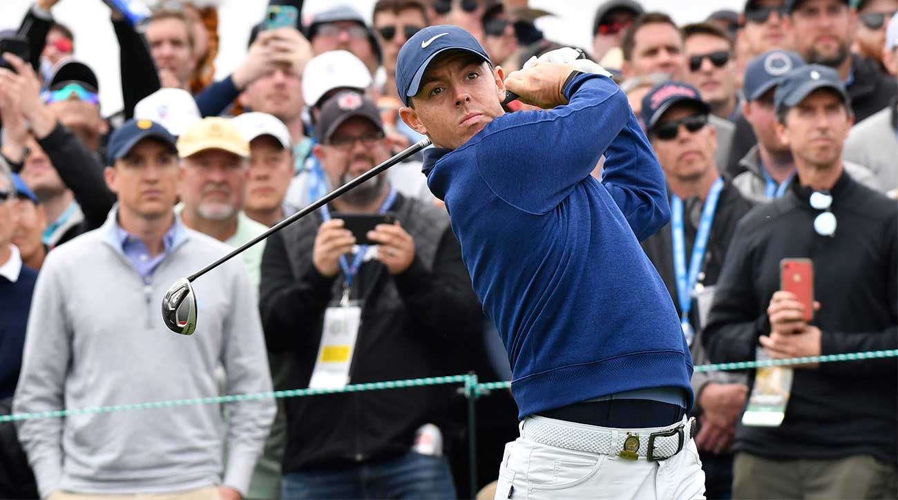 Rory McIlroy tees off during the third round of the U.S. Open.