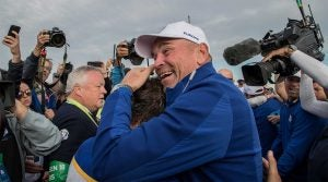 Thomas Bjorn celebrates Europe's 2018 Ryder Cup victory over the U.S.