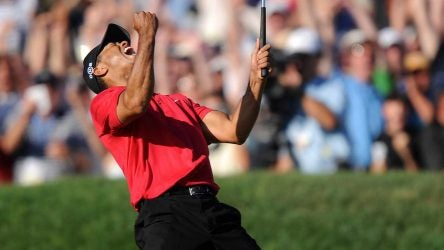 Tiger Woods celebrates his birdie putt on the 18th hole of the final round of the 2008 U.S. Open. He won the next day in a playoff.