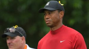Tiger Woods looks on at the 2019 Memorial.